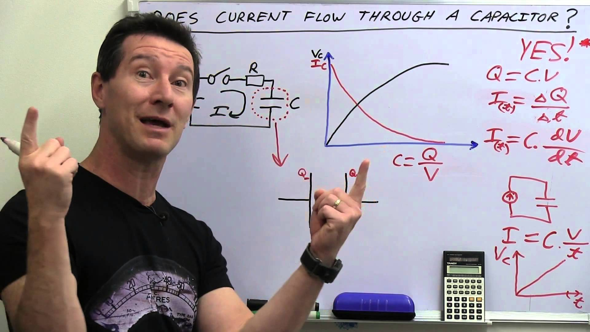 EEVblog #486 – Does Current Flow Through A Capacitor?